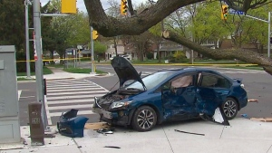 The scene of a crash in Scarborough on May 20, 2019 is seen.
