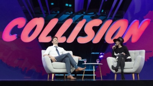 Prime Minister Justin Trudeau participates in an armchair discussion with founder and CEO of BroadbandTV Corp. Shahrfad Rafaiti at the Collision and Web Summit in Toronto on Monday, May 20, 2019. THE CANADIAN PRESS/Chris Young
