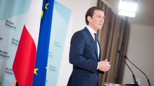 Austrian Chancellor Sebastian Kurz, of the Austrian People's Party, OEVP, addresses the media during a news conference in Vienna, Austria, Monday, May 20, 2019. (AP Photo/Michael Gruber)