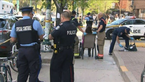 The scene of a stabbing near Bloor Street West and Spadina Avenue on May 21, 2019 is seen.