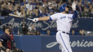 Toronto Blue Jays' Rowdy Tellez hits a three run home run against the Boston Red Sox in the fifth inning of their American League MLB baseball game in Toronto on Tuesday May 21, 2019. It was his second home run in the game. THE CANADIAN PRESS/Fred Thornhill