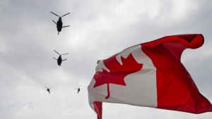 Canadian Forces CH-47 Chinooks participate in a flyover of Parliament Hill in Ottawa on Friday, May 9, 2014. A new Statistics Canada survey of military personnel suggests the Canadian Forces has made minimal progress in eradicating sexual misconduct from the ranks despite years of effort. THE CANADIAN PRESS/Justin Tang