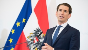 Austrian Chancellor Sebastian Kurz, address the media during af news conference after the inauguration ceremony at the Chancellors Office in Vienna, Austria, Wednesday, May 21, 2019. Austrian Chancellor Sebastian Kurz has called for an early election after the resignation of his vice chancellor Heinz-Christian Strache from the Freedom Party spelled an end to his governing coalition. (AP Photo/Michael Gruber)