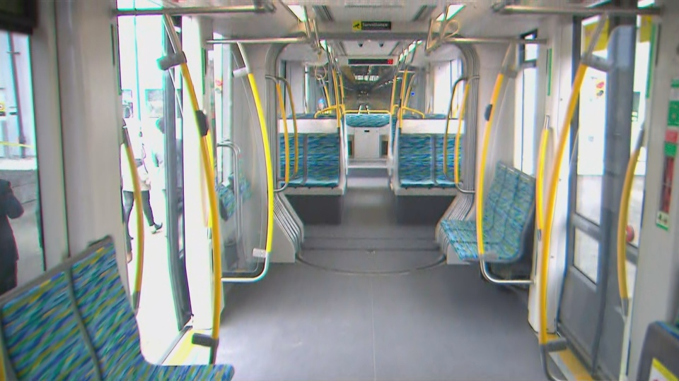 The inside of one of the new vehicles slated for use on the Eglinton Crosstown is shown during a media demonstration on Wednesday.