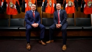 D.J. Smith (left) and Ottawa Senators GM Pierre Dorion are seen on May 23, 2019. (Ottawa Senators/Twitter)