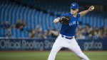 Toronto Blue Jays starting pitcher Clayton Richard (2) works against the Boston Red Sox during first inning American League MLB baseball action in Toronto on Thursday, May 23, 2019. THE CANADIAN PRESS/Nathan Denette