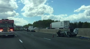One woman and two children were injured in a collision on Highway 401 near Winston Churchill Boulevard.