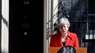 British Prime Minister Theresa May reacts as she makes a speech in the street outside 10 Downing Street in London, England, Friday, May 24, 2019. Theresa May says she'll quit as UK Conservative leader on June 7, sparking contest for Britain's next prime minister. (AP Photo/Alastair Grant)