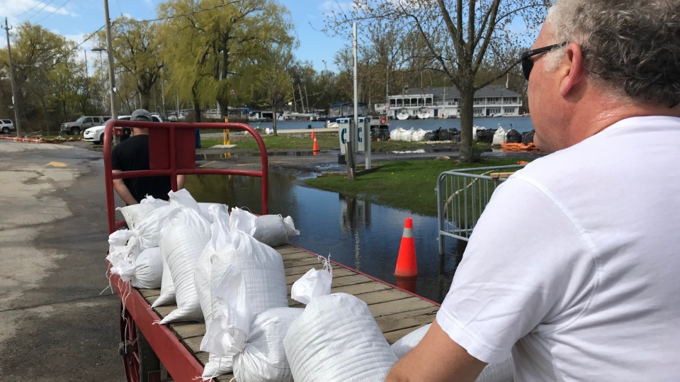 Residents are shown moving sandbags on the Toronto Islands on May 24. (Sean Leathong)