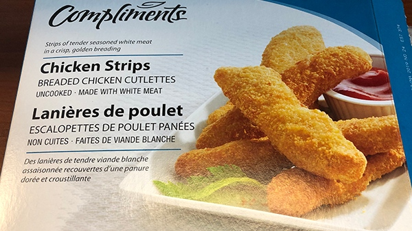 Compliments brand chicken strips are shown in this handout photo. (CFIA)