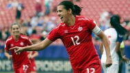 In this Oct. 14, 2018, file photo, Canada forward Christine Sinclair celebrates after scoring a goal in the second half of a soccer match at the CONCACAF women's World Cup qualifying tournament against Panama in Frisco, Texas. (AP Photo/Andy Jacobsohn, File)