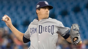 San Diego Padres starting pitcher Cal Quantrill throws against the Toronto Blue Jays during the first inning of their interleague MLB baseball game in Toronto on Saturday May 25, 2019. THE CANADIAN PRESS/Fred Thornhill