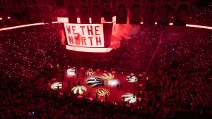 The light show begins on the court before first half NBA Eastern Conference finals action between the Toronto Raptors and the Milwaukee Bucks, in Toronto on Saturday, May 25, 2019. THE CANADIAN PRESS/Chris Young