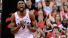 Toronto Raptors centre Serge Ibaka (9) reacts after dunking the ball during first half NBA Eastern Conference finals action against the Milwaukee Bucks, in Toronto on Saturday, May 25, 2019. THE CANADIAN PRESS/Nathan Denette