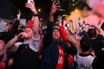 Toronto Raptors fans react after the team's 100-94 game six win over the Milwaukee Bucks to become the NBA Eastern Conference champions outside the Scotiabank Arena, in Toronto on Saturday, May 25, 2019. THE CANADIAN PRESS/Chris Young