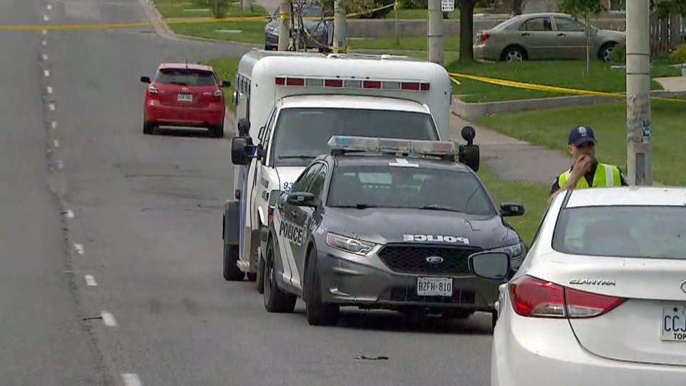 The scene of a collision near Victoria Park Avenue and Adair Road on May 26, 2019 is seen.