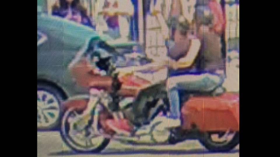 A surveillance camera image of a motorcycle released by Toronto Police Service is seen.