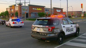 The scene of a collision in Etobicoke on May 26, 2019 is seen.