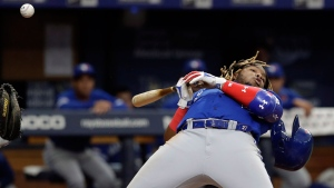 Toronto Blue Jays' Vladimir Guerrero Jr. loses his helmet as he ducks away from a pitch by Tampa Bay Rays' Jose Alvarado during the eighth inning of a baseball game Monday, May 27, 2019, in St. Petersburg, Fla. (AP Photo/Chris O'Meara)