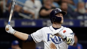 Tampa Bay Rays' Austin Meadows follows the flight of his home run off Toronto Blue Jays relief pitcher Sam Gaviglio during the eighth inning of a baseball game Monday, May 27, 2019, in St. Petersburg, Fla. (AP Photo/Chris O'Meara)