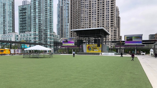 Mississauga's Celebration Square is shown on May 29, 2019. (Peter Muscat)