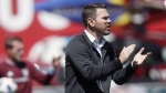 Head coach of Toronto FC Greg Vanney is seen directing his team against the Colorado Rapids in the first half of an MLS soccer match in Commerce City, Colo., on April 14, 2018. THE CANADIAN PRESS/AP, David Zalubowski