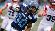 Toronto Argonauts' Chandler Worthy rushes up field with the ball during preseason CFL game action against the Montreal Alouettes at Varsity Stadium in Toronto, Thursday, May 30, 2019. THE CANADIAN PRESS/Cole Burston