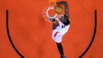 Toronto Raptors forward Pascal Siakam (43) eyes the ball while playing against the Golden State Warriors during second half NBA championship basketball finals action in Toronto on Thursday, May 30, 2019. THE CANADIAN PRESS/Nathan Denette