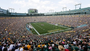 In this Sept. 24, 2017, file photo, Lambeau Field is seen during the first half of an NFL football game between the Green Bay Packers and the Cincinnati Bengals, in Green Bay, Wis. (AP Photo/Morry Gash, File)