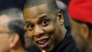 In this Dec. 7, 2016 file photo, rapper Jay-Z appears at a NBA basketball game between the Los Angeles Clippers and the Golden State Warriors in Los Angeles. (AP Photo/Mark J. Terrill, File)
