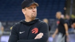 Toronto Raptors' head coach Nick Nurse keeps an eye on the action at practice for the NBA Finals in Oakland on Tuesday June 4, 2019. THE CANADIAN PRESS/Frank Gunn