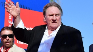 French actor Gerard Depardieu arrives for the screening of ' Novecento ' at the 74th Venice International Film Festival, in Venice, Italy, Tuesday, Sept. 5, 2017. (Claudio Onorati/ANSA via AP) (Ettore Ferrari/ANSA via AP)