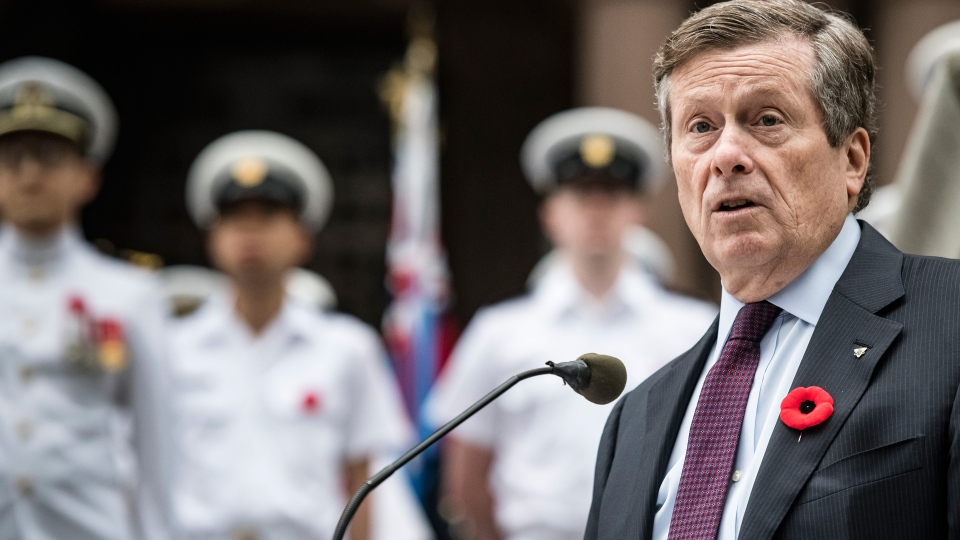 Toronto Mayor John Tory speaks at an event commemorating the 75th anniversary of D-Day and the Battle of Normandy, at Old City Hall in Toronto, on Thursday June 6, 2019. THE CANADIAN PRESS/Christopher Katsarov