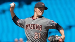 Arizona Diamondbacks starting pitcher Zack Greinke throws against the Toronto Blue Jays in their MLB interleague baseball game in Toronto, Saturday, June 8, 2019. THE CANADIAN PRESS/Fred Thornhill