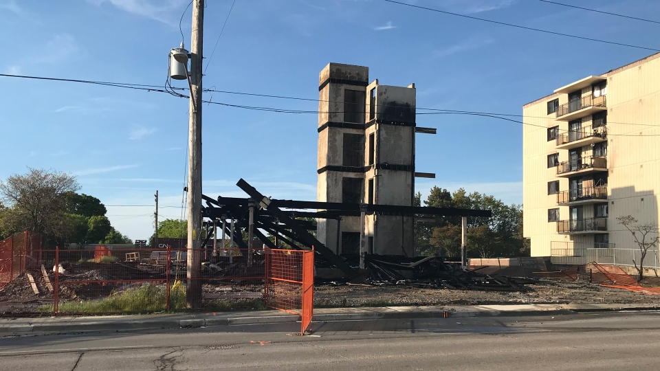 The wreckage of an apartment building under construction is pictured on Bloor Street in Oshawa Sunday June 9, 2019. (Brandon Gonez /CP24)