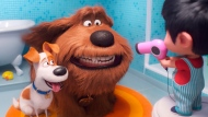 """This file image released by Universal Pictures shows Max, voiced by Patton Oswalt, from left, Duke, voiced by Eric Stonestreet and Liam, voiced by Henry Lynch in a scene from """"The Secret Life of Pets 2."""" (Illumination Entertainment/Universal Pictures via AP, File)"""