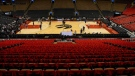 Golden State Warriors shoot hoops on the court after a closed practice session at the Scotiabank Arena, in Toronto on Monday, June 10, 2019, ahead of game five of the NBA Finals against the Toronto Raptors. (THE CANADIAN PRESS/Chris Young)