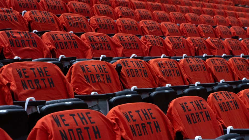 Tee shirts are placed on seats at the Scotiabank Arena, in Toronto on Monday, June 10, 2019, ahead of game five of the NBA Finals between the Toronto Raptors and the Golden State Warriors. THE CANADIAN PRESS/Chris Young