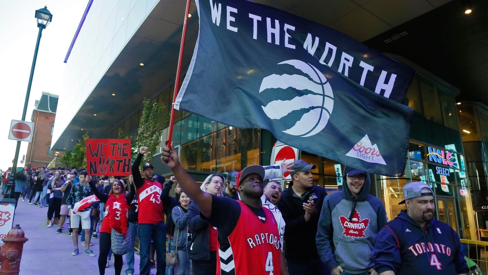 Toronto Raptors fans line up to enter Rogers Square for a public viewing of game five of the NBA Finals between the Raptors and the Golden State Warriors in Halifax, Monday, June 10, 2019. THE CANADIAN PRESS/Tim Krochak