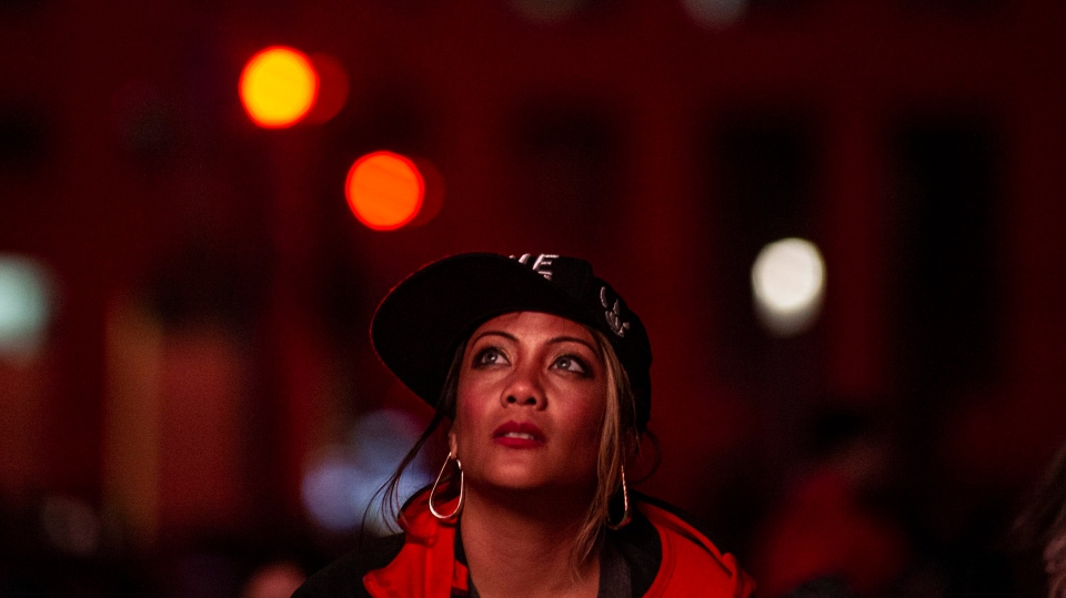 A fan looks on during Game 5 of the NBA Finals between the Toronto Raptors and the Golden State Warriors at a viewing party in Mississauga, Ont., on Monday, June 10, 2019. THE CANADIAN PRESS/Eduardo Lima