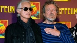 "In this Oct. 9, 2012 file photo, Led Zeppelin guitarist Jimmy Page, left, and singer Robert Plant appear at a news conference ahead of the worldwide theatrical release of ""Celebration Day,"" a concert film of their 2007 London O2 arena reunion show, in New York. A panel of 11 judges from the 9th U.S. Circuit Court of Appeals agreed Monday, June 10, 2019, to hear Led Zeppelin's appeal in a copyright lawsuit alleging the group stole its 1971 rock epic from an obscure 1960s instrumental. (Photo by Evan Agostini/Invision/AP, File)"