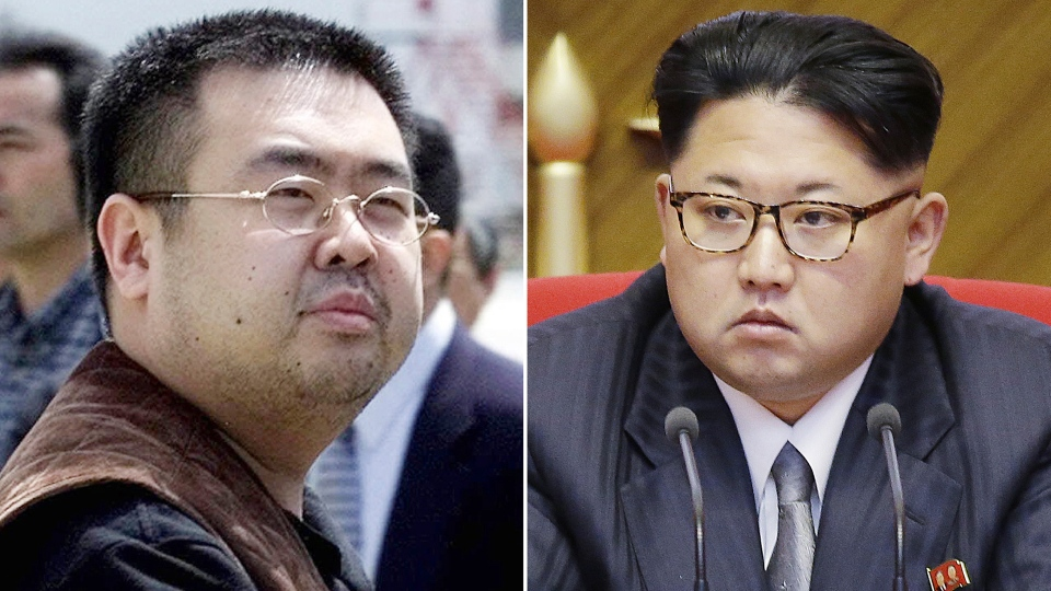 This combination of file photos shows Kim Jong Nam, left, exiled half-brother of North Korea's leader Kim Jong Un, in Narita, Japan, on May 4, 200, and North Korean leader Kim Jong Un on May 9, 2016, in Pyongyang, North Korea. (AP Photos/Shizuo Kambayashi, Wong Maye-E, File)