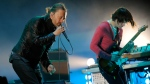 In this April 14, 2012 file photo, Thom Yorke, left, and Jonny Greenwood of Radiohead perform during the band's headlining set at the 2012 Coachella Valley Music and Arts Festival in Indio, Calif. (AP Photo/Chris Pizzello, File)