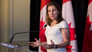 Foreign Affairs Minister Chrystia Freeland holds a media availability after meeting with her Cuban counterpart Bruno Rodriguez in Toronto, Friday, June 7, 2019. THE CANADIAN PRESS/Nick Kozak