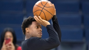 Toronto Raptors' Kyle Lowry makes a shot at practice for the NBA Finals in Oakland on Wednesday June 12, 2019. THE CANADIAN PRESS/Frank Gunn
