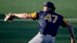 West Virginia pitcher Alek Manoah throws against Texas during an NCAA college baseball game Friday, April 26, 2019, in Austin, Texas. The Toronto Blue Jays went for size and strength with their first selection of this year's MLB draft. Now they're excited to see how those traits can translate to their pro ranks. Toronto chose six-foot-six, 260-pound West Virginia right-handed pitcher Manoah with the 11th overall pick Monday night. THE CANADIAN PRESS/AP-Nick Wagner/Austin American-Statesman via AP