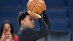 Toronto Raptors' Kyle Lowry makes a shot at practice for the NBA Finals in Oakland on Wednesday June 12, 2019. Lowry says his surgically repaired thumb has not recovered sufficiently enough to allow him to participate with USA Basketball. (THE CANADIAN PRESS/Frank Gunn)