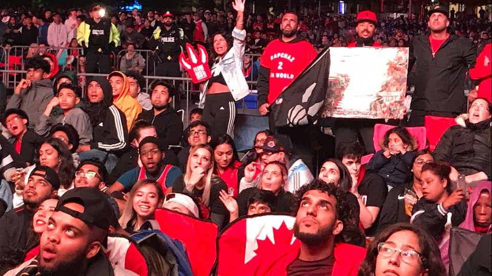 Raptors fans watch Game 6 of the NBA playoffs at Celebration Square in Mississauga Thursday June 13, 2019. (Tom Brown /CTV News Toronto)