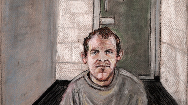 In this courtroom drawing, Brenton Tarrant, the man accused of killing 51 people at two Christchurch mosques on March 15, 2019 appears via video link at the Christchurch District Court, from the maximum security prison in Auckland where he's being held, Christchurch, New Zealand, Friday, June 14, 2019. Tarrant pleaded not guilty to all the charges filed against him. (AP Photo/Stephanie McEwin)
