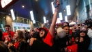 Toronto Raptors fans celebrate at a public telecast following the Raptors' defeat of the Golden State Warriors in game 6 of the NBA Finals to win the NBA Championship, in Halifax, Friday, June 14, 2019. THE CANADIAN PRESS/Tim Krochak